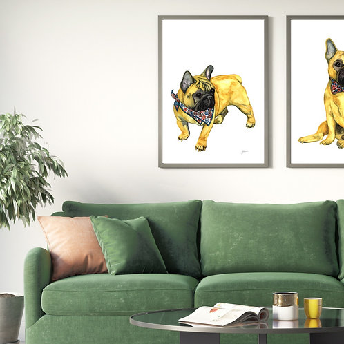 Louie the French Bulldog Art Print