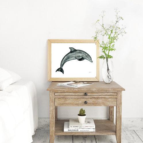 Luna the Dolphin Print in Grey