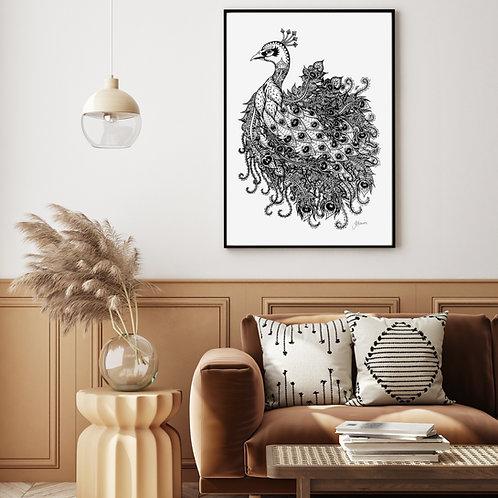 Bohemian Royal Peacock Wall Art | FRAMED
