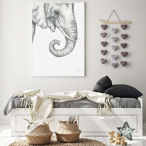 Eva the Elephant Fine Art Print | FRAMED