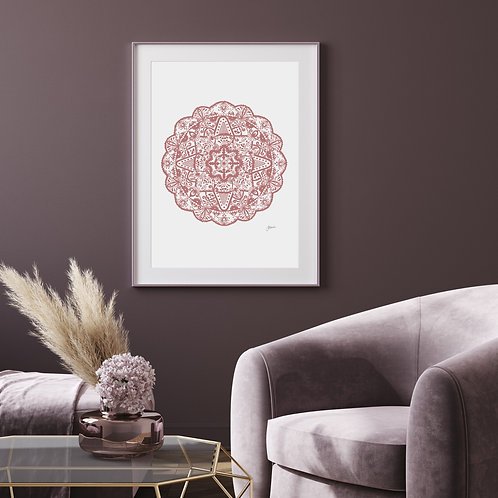 Marrakesh Mandala Art Print in Blush