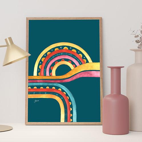 Little River Love in Teal Fine Art Print | FRAMED