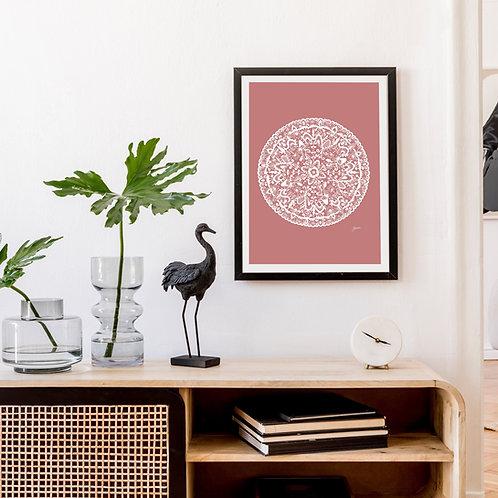 Sahara Mandala in Blush Pink Solid Wall Art | FRAMED