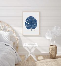 Monstera Living Art in Navy Blue