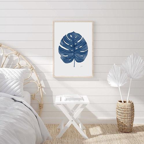 Monstera Living Art Leaf Print in Navy Blue