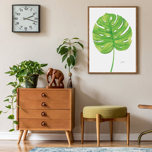 Monstera Living Art Leaf Print