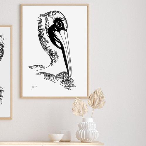 Bohemian Pelican Demure Print