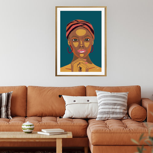 Lady Lila in Dark Teal Fine Art Print   FRAMED