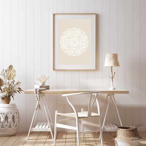 Marrakesh Mandala Art Print in Ivory Solid