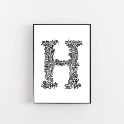 The Secret Garden Alphabet Prints H I J K L M N