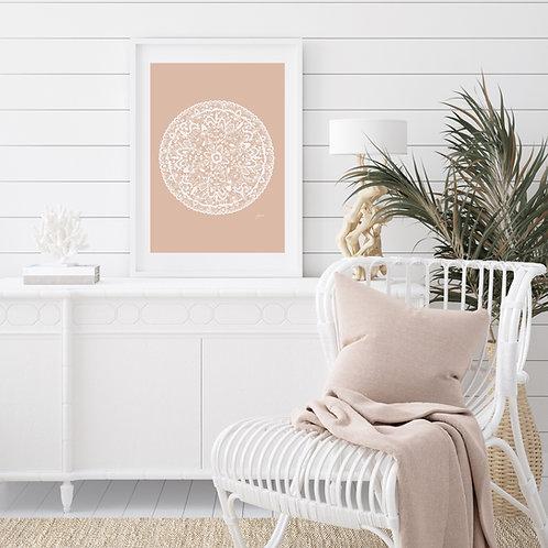 Sahara Mandala Art Print in Light Blush Solid