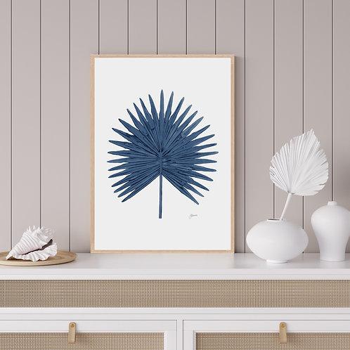 Fan Palm Living Wall Art in Navy Blue | FRAMED