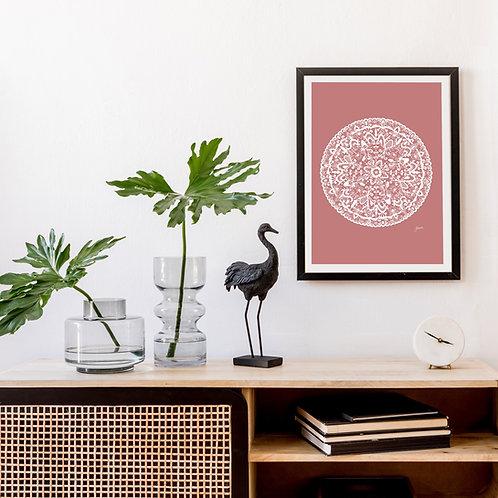 Sahara Mandala Art Print in Blush Solid