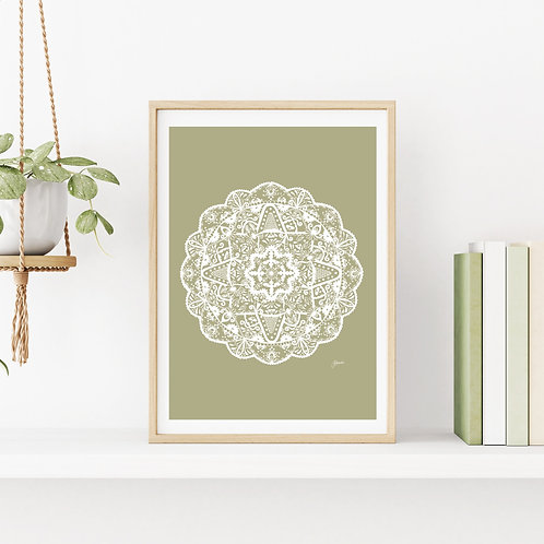 Marrakesh Mandala in Sage Solid Wall Art | FRAMED