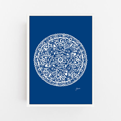 Sahara Mandala in Solid Navy Wall Art | CANVAS