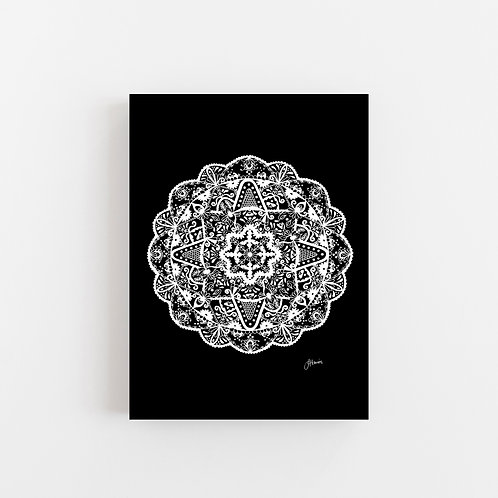 Marrakesh Mandala in Solid Black Wall Art | CANVAS