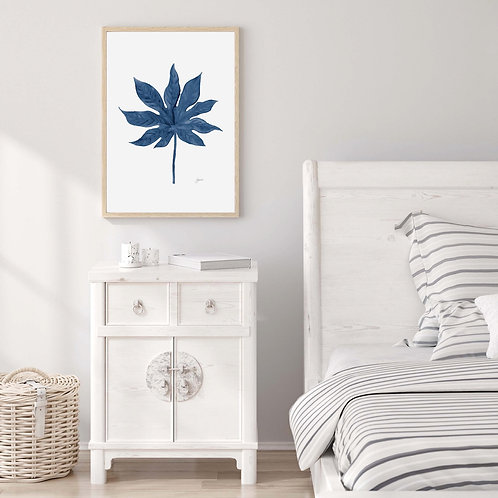 Aralia Living Art Leaf Print in Navy Blue