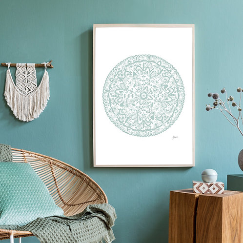 Sahara Mandala Art Print in Haze