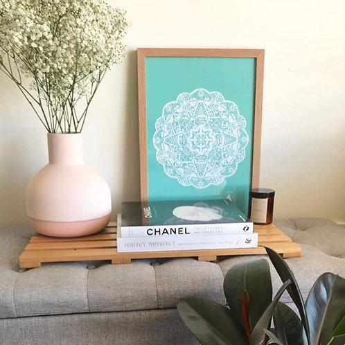 Marrakesh Mandala Print in White & Mint