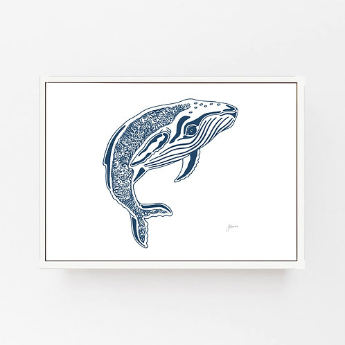 Henry the Humpback Whale Print in Navy Blue Wall Art | CANVAS