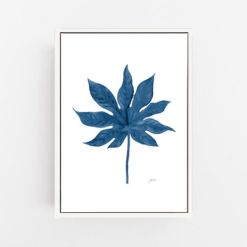 Aralia Living Art Leaf Print in Navy Blue Wall Art | CANVAS