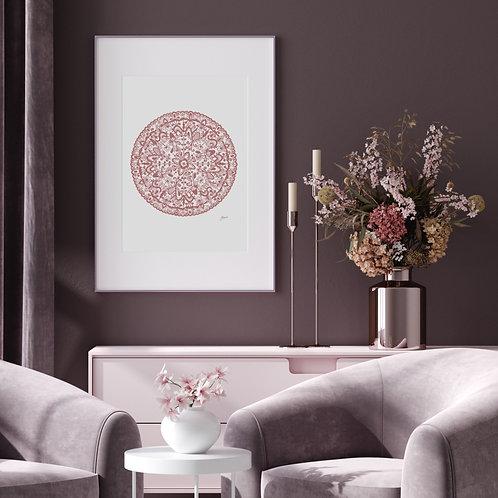 Sahara Mandala Art Print in Blush