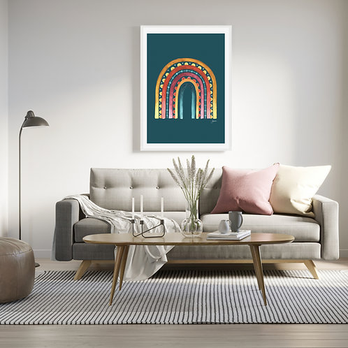 Rainbow Warrior in Teal Fine Art Print | FRAMED