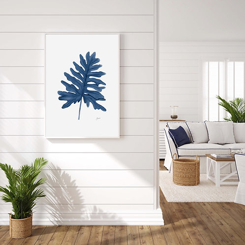 Philodendron Living Art Leaf Print in Navy Blue