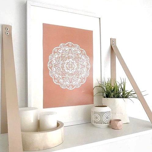 Marrakesh Mandala Print in White & Sandstone