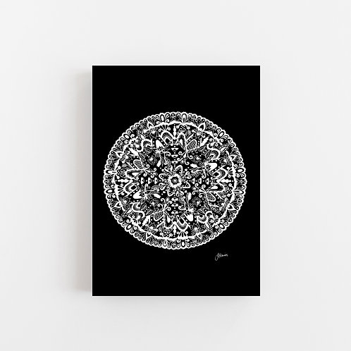 Sahara Mandala in Solid Black Wall Art | CANVAS