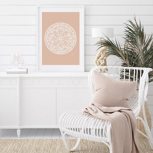 Sahara Mandala in Light Blush Solid Wall Art | FRAMED