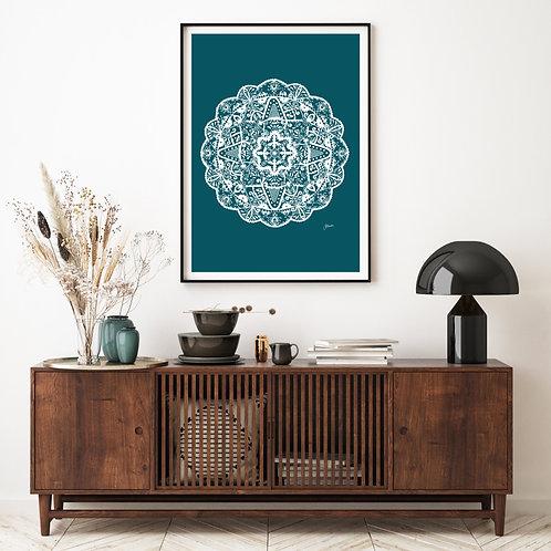 Marrakesh Mandala Art Print in Teal Solid