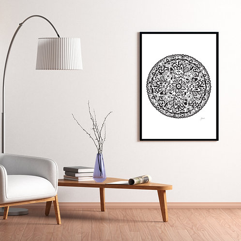 Sahara Mandala in Black Wall Art | FRAMED