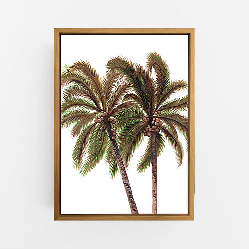 Palm Breeze Duo in White Wall Art | CANVAS
