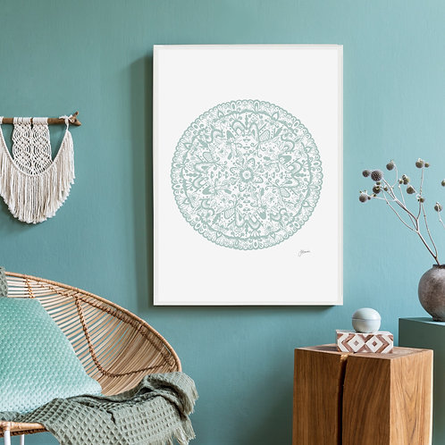 Sahara Mandala in Haze Wall Art | FRAMED