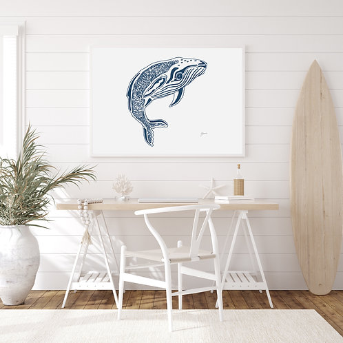 Henry the Humpback Whale Fine Art Print in Navy Blue | FRAMED