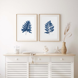 Philodendron & Lush Leaf Living Art in Navy Blue
