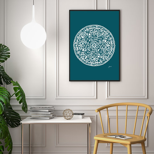 Sahara Mandala Art Print in Teal Solid