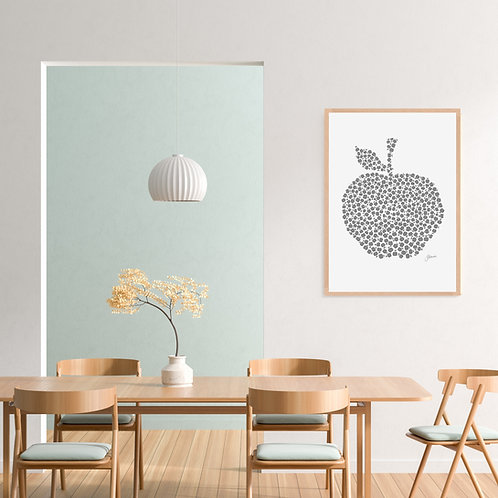 Apple Orchard Wall Art in Silver Grey  FRAMED