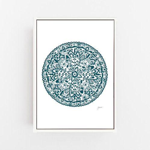 Sahara Mandala in Teal Wall Art | CANVAS