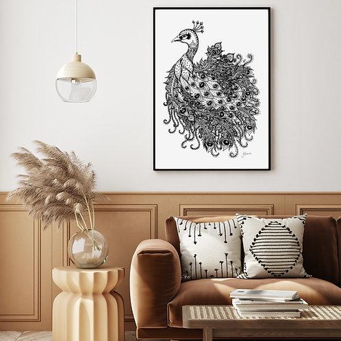 Bohemian Royal Peacock Print