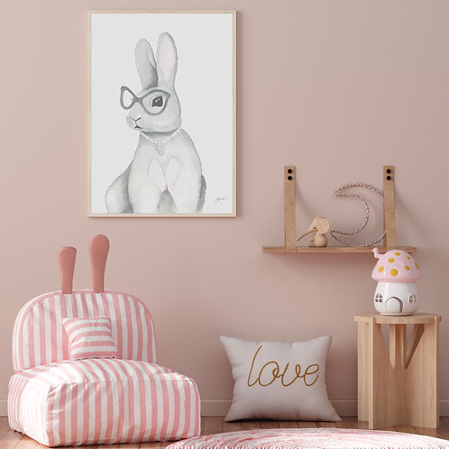 Frankie the Fancy Bunny Rabbit Print