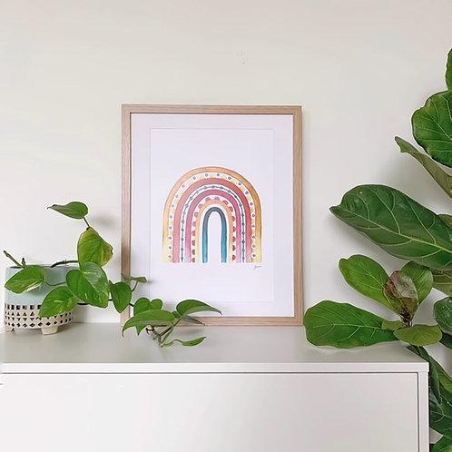 Rainbow Warrior in Sunset White Art Print