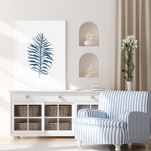 Tropical Fine Living Art Leaf Wall Art in Navy Blue | FRAMED