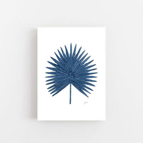 Fan Palm Living Art Leaf Print in Navy Blue Wall Art | CANVAS