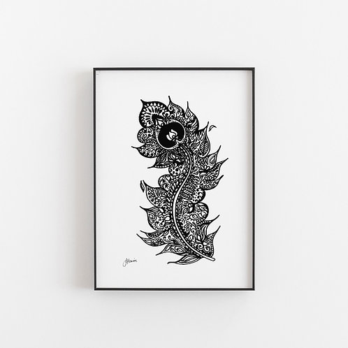 Bohemian Peacock Eye Feather Art Print A4 & A3 Size | Digital Download