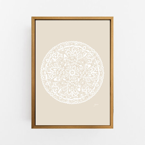 Sahara Mandala in Solid Ivory Wall Art | CANVAS