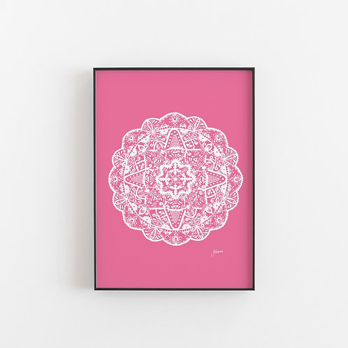 Marrakesh Mandala Print in White & Fuchsia
