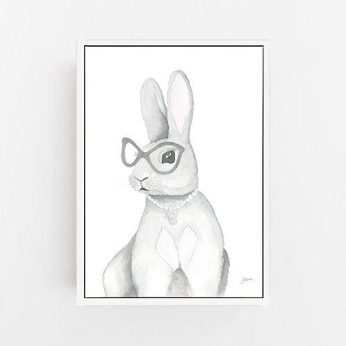 Frankie the Fancy Bunny Rabbit Wall Art   CANVAS