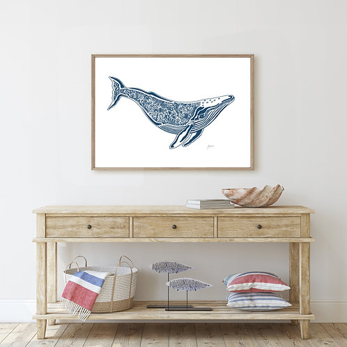 Harry the Humpback Whale Print in Navy